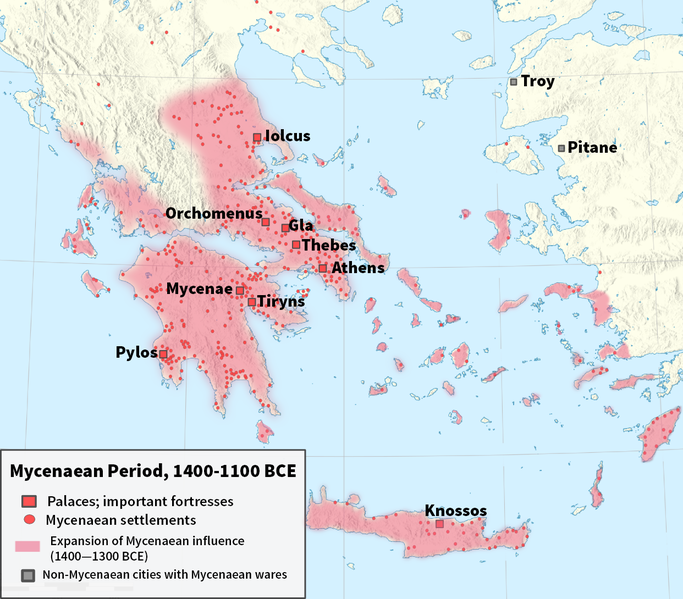 Map of the Mycenaean Period- 1400BC through 1100BC.